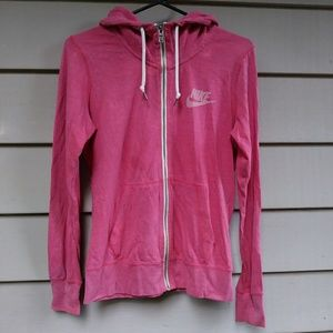 Coral Pink Nike Zip Up Hoodie Medium
